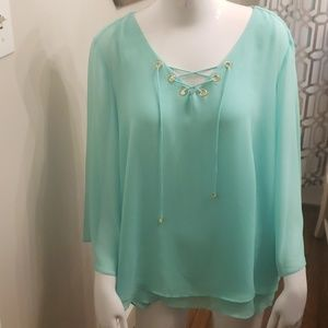 Mint Flowy Sheer Top